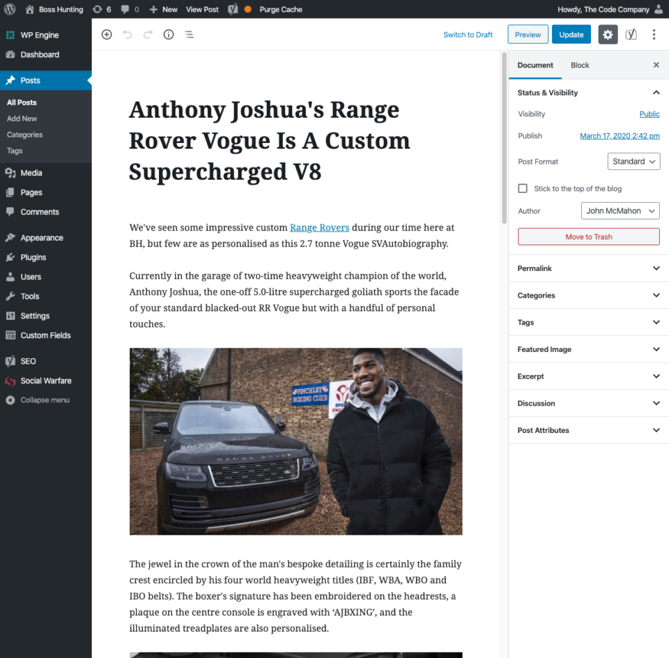 Screenshot of WordPress article editor